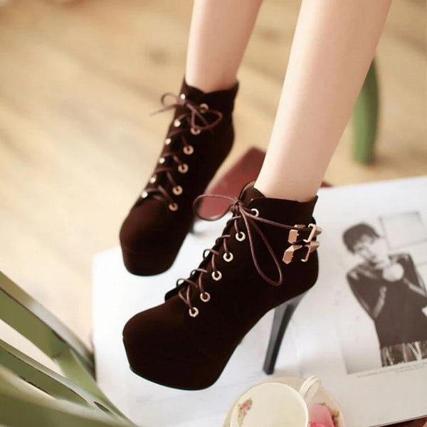 Black/Red/Brown Heels Boots K14716