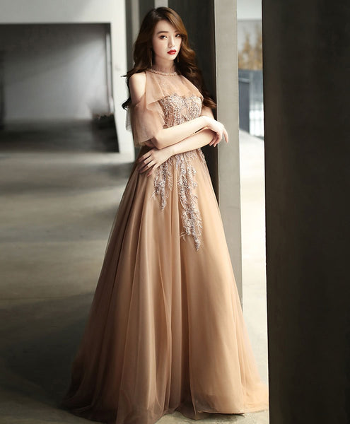 Champagne high neck tulle lace long prom dress formal dress A036 - DelaFur Wholesale