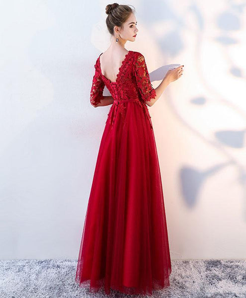 Burgundy Lace Tulle Long Prom Dress, Burgundy Tulle Evening Dress - DelaFur Wholesale