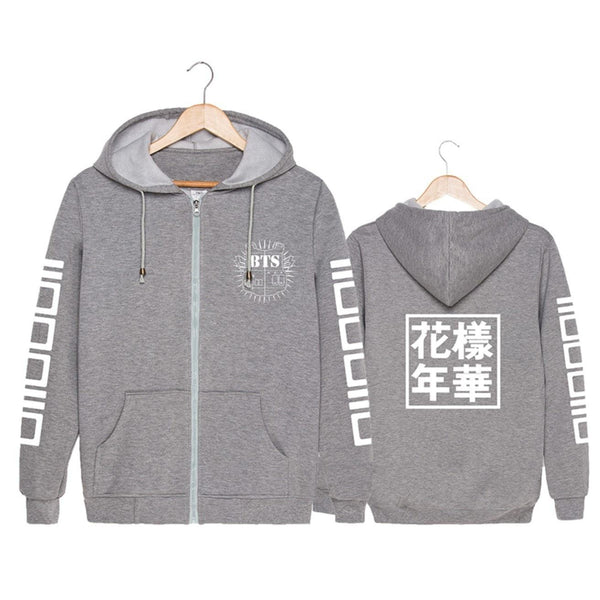 Black/Gray/Red BTS Live Preppy Hoodie Coat