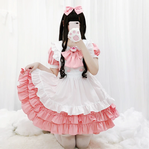 Lolita Cute Pink Maid Dress Suit K15502 - kawaiimoristore