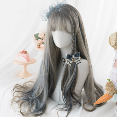 Brown Blue Mixed Lolita Wig K15118 - kawaiimoristore