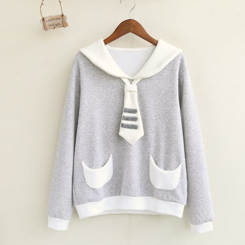 Gray Navy Collar Fleece Pullover K15066 - kawaiimoristore
