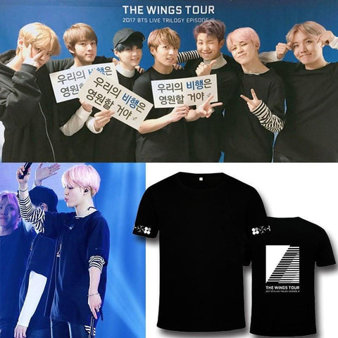 4 Colors BTS The Wings Tour Tee Shirt