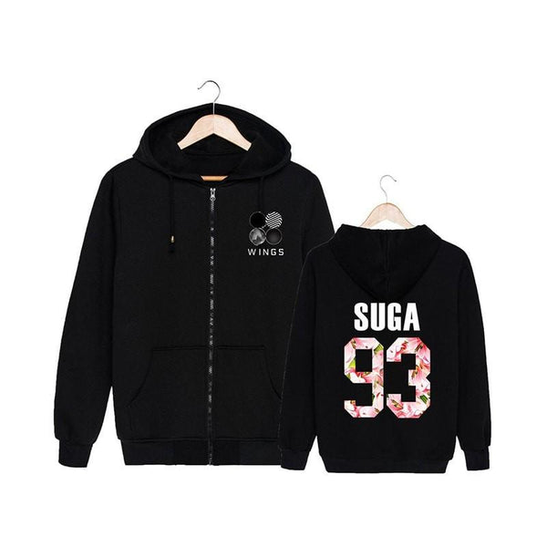 Black BTS Wings Floral Hoodie Coat