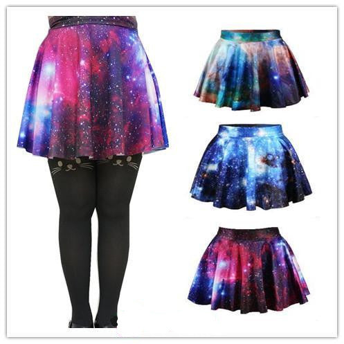 3 Colors Galaxy Stars Printing Bottom Skirt KW141454