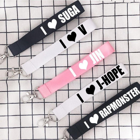 Black/White/Pink I Love BTS Key Chain