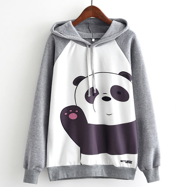 Cartoon Panda Print Long Sleeve Sweatshirt Hooded Pullover Tops K14947 - kawaiimoristore