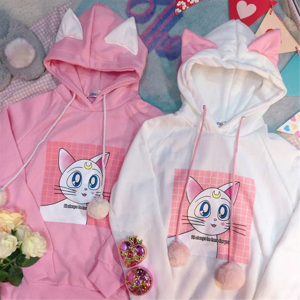 Pink/white Sailor Moon Fleece Pullover KW178981 - kawaiimoristore