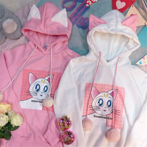 Pink/white Sailor Moon Fleece Pullover KW178981