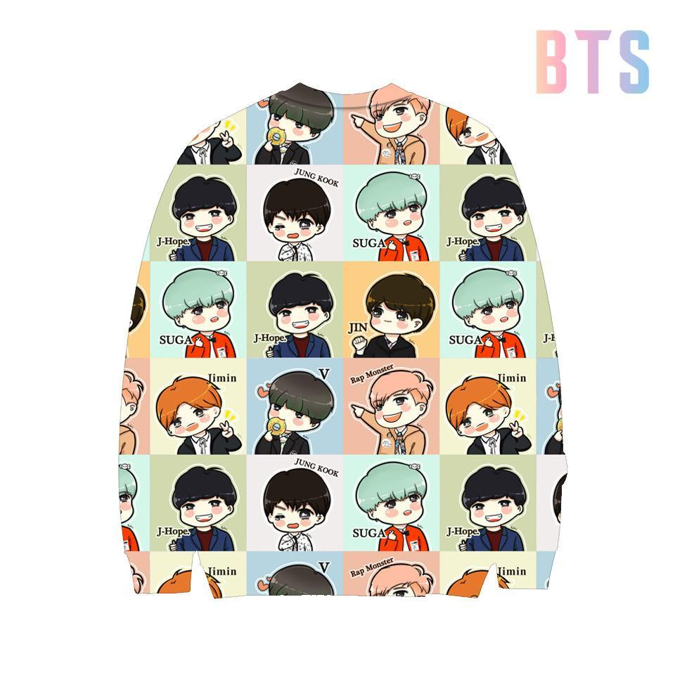 BTS 3D Cartoon Pullover Jumper
