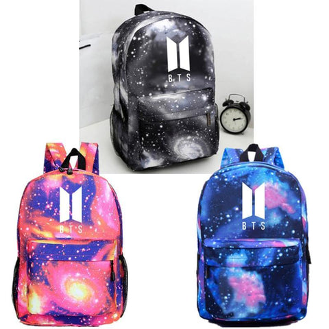 Red/Blue/Gray BTS Galaxy Space Backpack