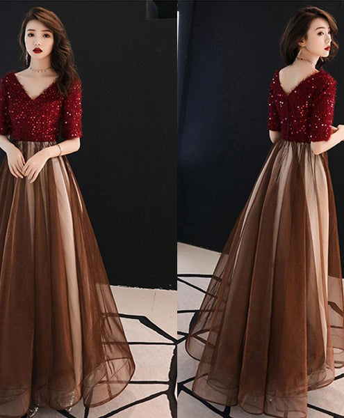 Burgundy Sequin Tulle Long Prom Dress, Burgundy Evening Dress - DelaFur Wholesale