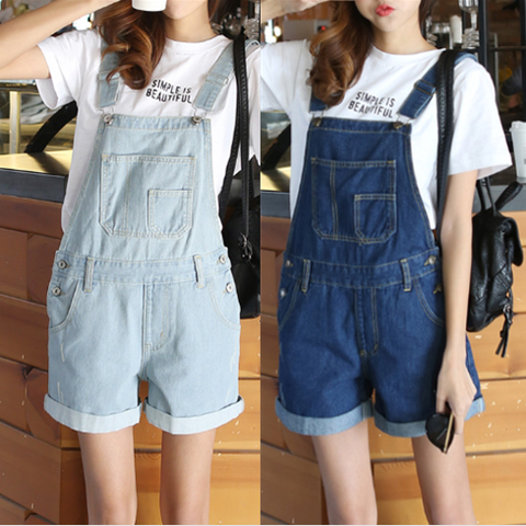 4 Colors Denim Overalls Shorts KW179944