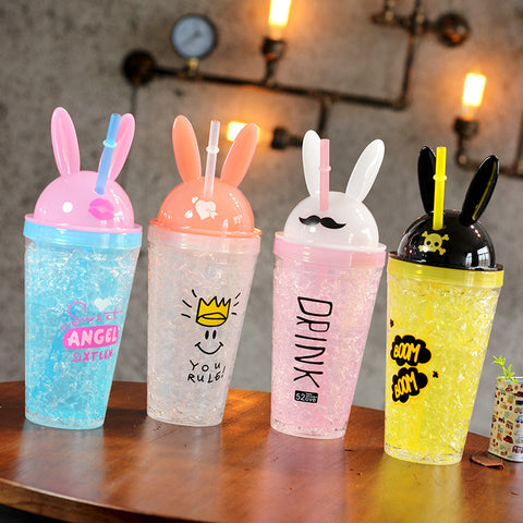 4 Colors Kawaii Bunny Ears Water Bottle K13779