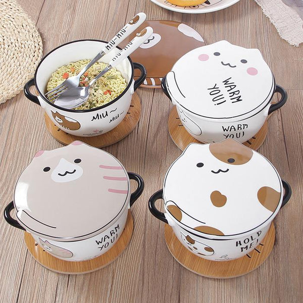 4 Colors Kawaii Cat Ceramics Bowl K12742