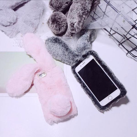 4 Colors Kawaii Fluffy Bunny Phone Case KW1811786
