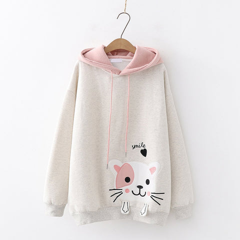 4 Colors Smile Kitty Fleece Hoodie Jumper K12958