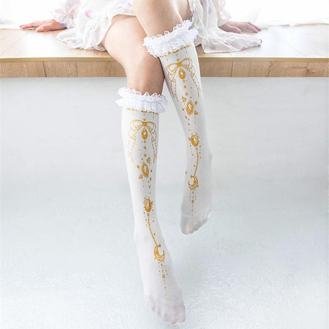 4 Colors Sweet Bow Jewel Lace Long Socks K13047