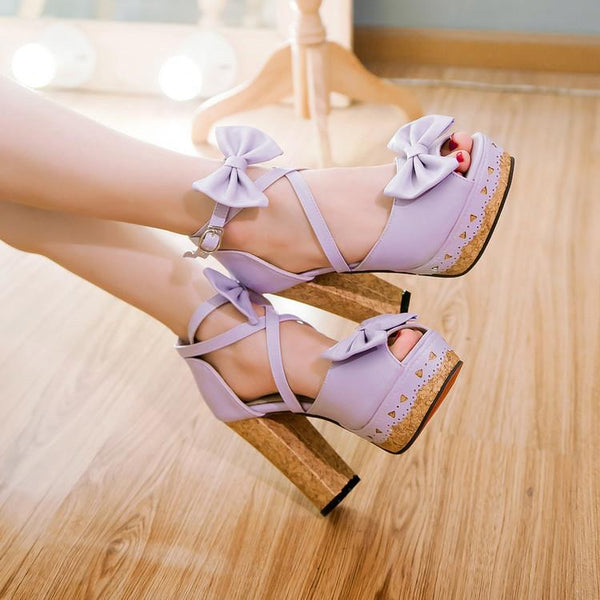 4 Colors Sweet Lolita Princess Bow Shoes K12777