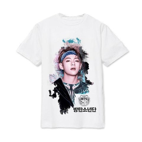 White BTS Bias Tee Shirt