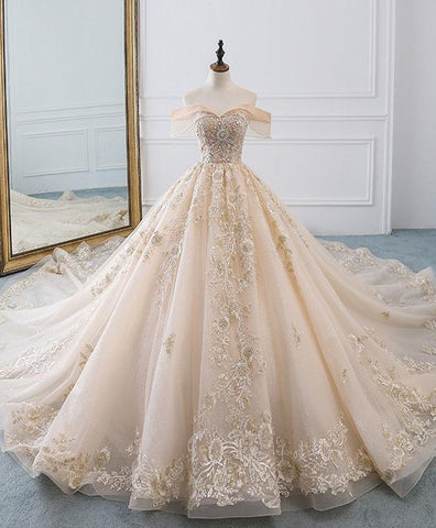 Champagne Off Shoulder Tulle Lace Long Wedding Dress, Wedding Gown - DelaFur Wholesale