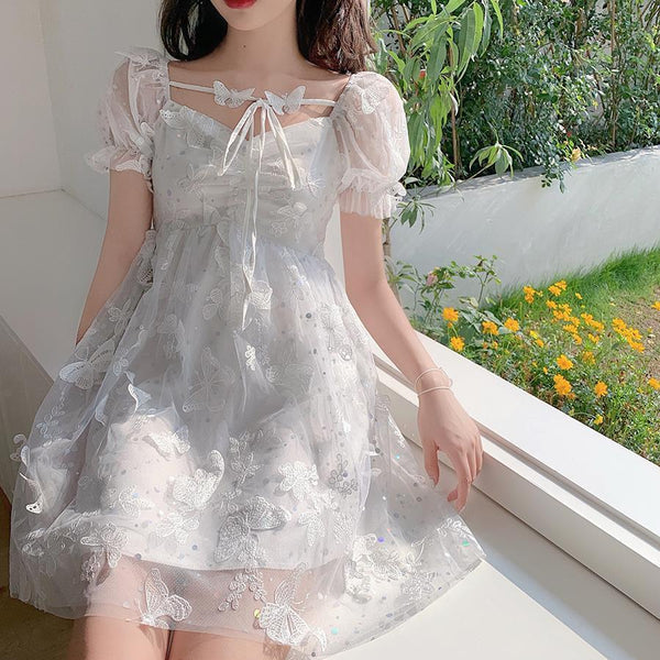 Hepburn Style Puff Sleeve Lace Embroidery A-Line Midi Dress K15539 - kawaiimoristore