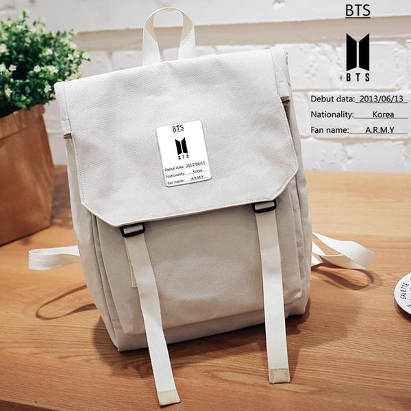 Black/Pink/Gray BTS Canvas Backpack