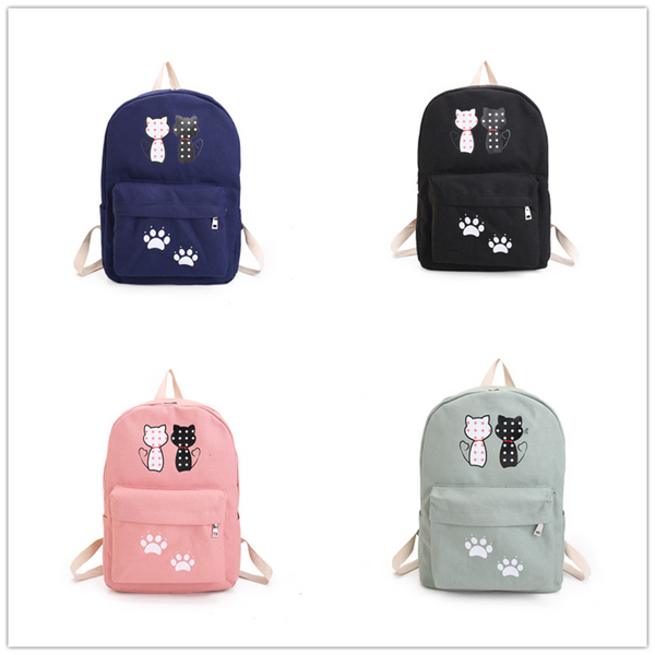 Navy/Green/Pink/Black Loving Couple Cats Backpack KW1710393