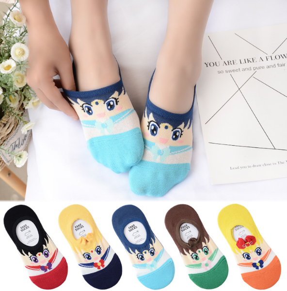 5 Color Kawaii Sailor Moon Invisible Socks KW1711161