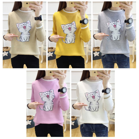 5 Colors Laughing Cat Kitty Sweater K13078