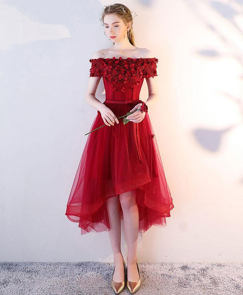 Burgundy Off Shoulder Tulle Lace Short Prom Dress, Burgundy Homecoming Dress - DelaFur Wholesale