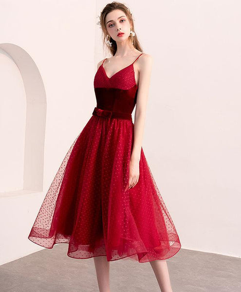 Cute Burgundy Tulle Short Prom Dress, Burgundy Homecoming Dress - DelaFur Wholesale