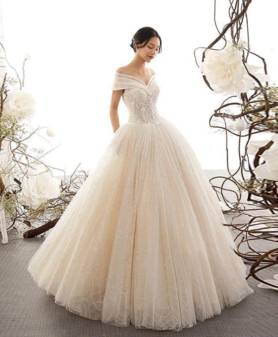 Champagne Sweetheart Tulle Lace Long Wedding Dress, Bridal Gown - DelaFur Wholesale