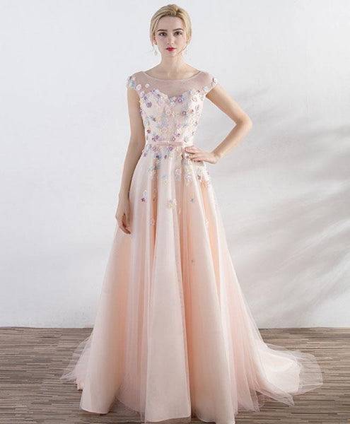 Champagne Pink Round Neck Tulle Long Prom Dress, Evening Dress - DelaFur Wholesale