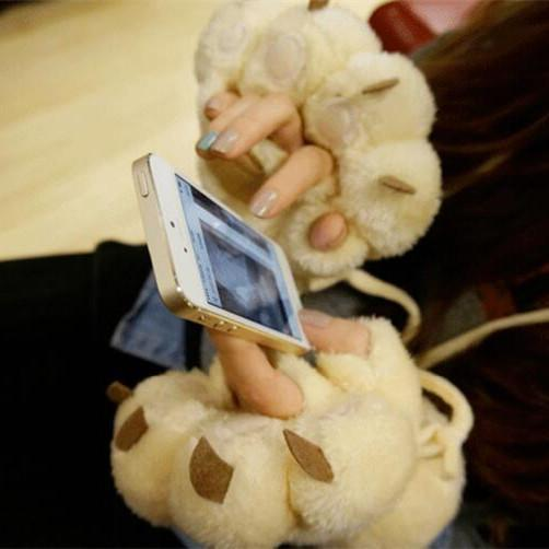 6 Colors Cute Fluffy Fingerless Paws Gloves KW1711062