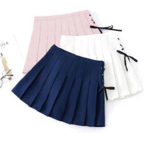 6 Colors Pastel Ribbon Pleated Skirt K12704
