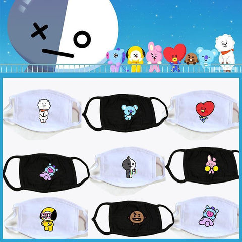 Black/White Kawaii BTS X BT21 Mask