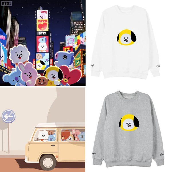 Black/Gray/White BTS BT21 Pullover Jumper