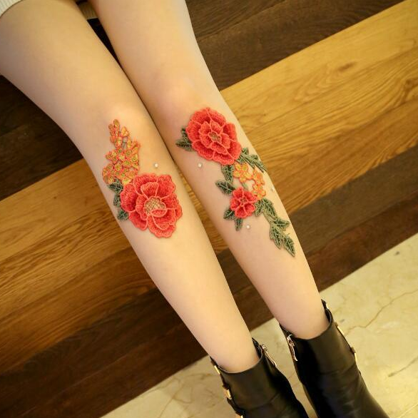 Vintage Paeonia Embroidery Tights KW179419
