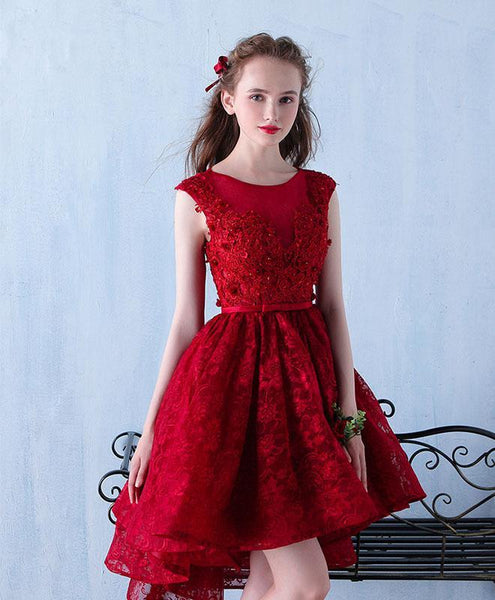Burgundy Lace Short Prom Dress, Burgundy Lace Homecoming Dress - DelaFur Wholesale