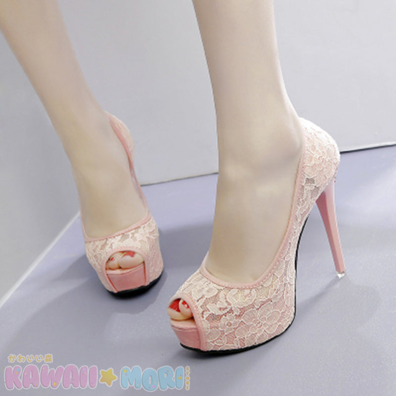 Sweet Floral Heels Shoes K13523 - kawaiimoristore