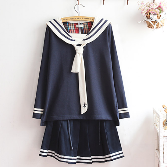 Japanese navy tie fleece + skirts two-piece