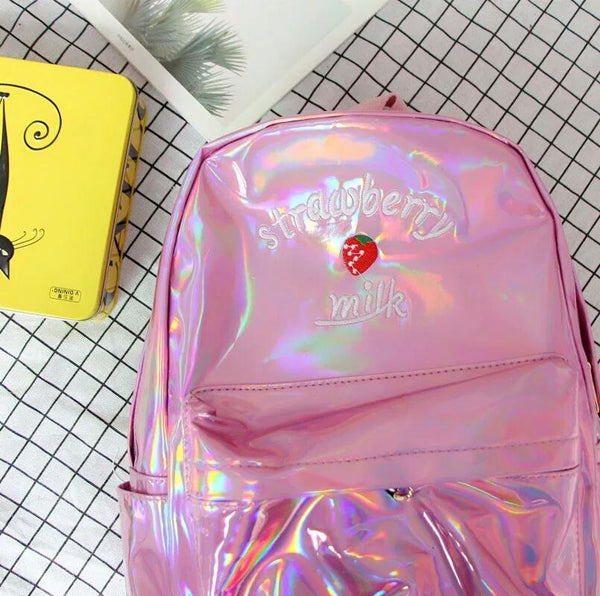 4 Colors Hologram Strawberry Milk Backpack K13635