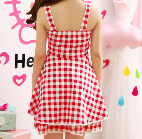 Sweet Red Grid Dress