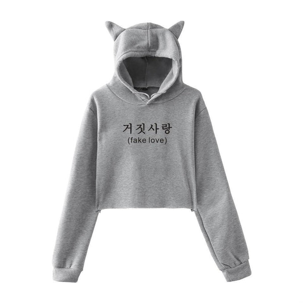 4 Colors Fake Love Kitty Hoodie Jumper K12925