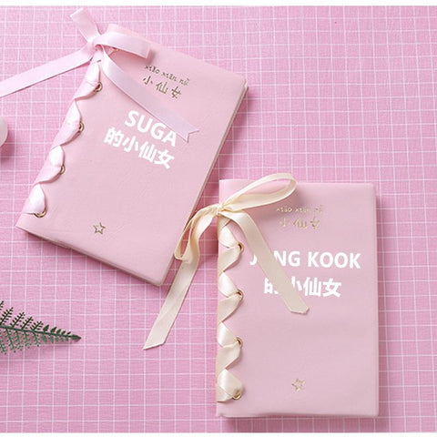Pink BTS Pastel Ribbon Bow Notebook