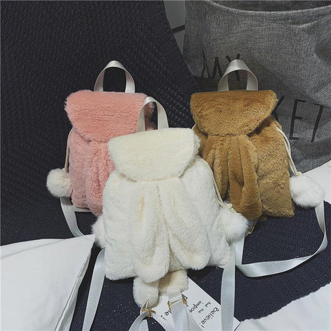 White/Pink/Brown Bunny Ears Plush Backpack