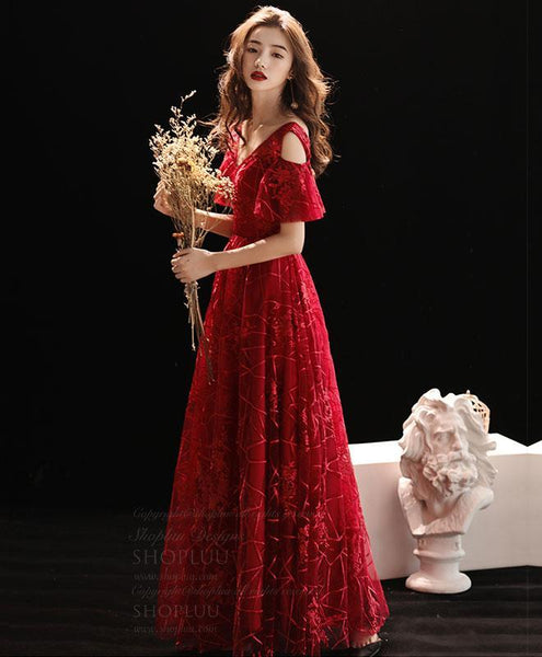 Burgundy V Neck Lace Long Prom Dress, Burgundy Evening Dress - DelaFur Wholesale