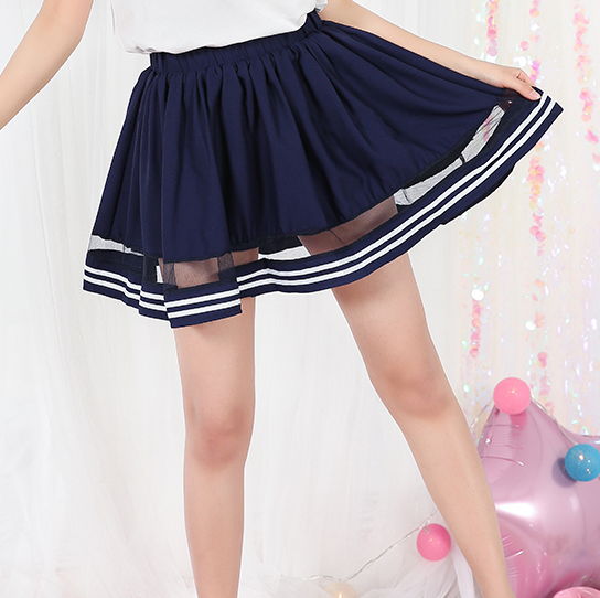 Navy/white Students Skirt KW1812117
